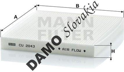 Kabínový filter MANN FILTER CU 2043