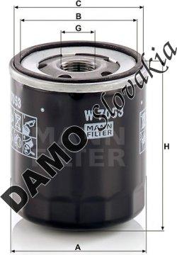 Olejový filter MANN FILTER W 7053