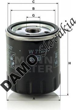 Olejový filter MANN FILTER W 712/47