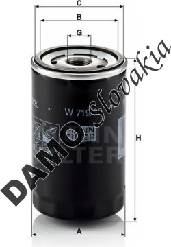 Olejový filter MANN FILTER W 719/30