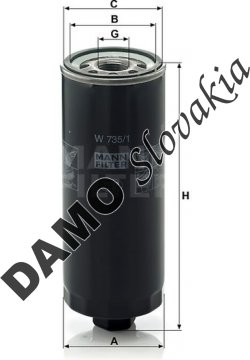 Olejový filter MANN FILTER W 735/1