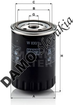 Olejový filter MANN FILTER W 830/1