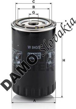 Olejový filter MANN FILTER W 840/2