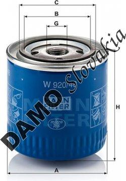 Olejový filter MANN FILTER W 920/48