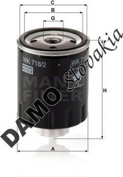 Palivový filter MANN FILTER WK 718/2