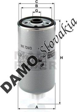 Palivový filter MANN FILTER WK 724/3