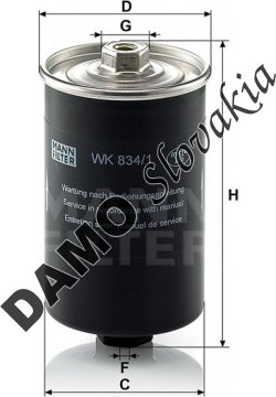 Palivový filter MANN FILTER WK 834/1