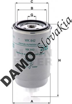 Palivový filter MANN FILTER WK 842