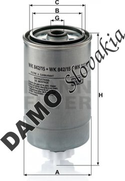 Palivový filter MANN FILTER WK 842/15