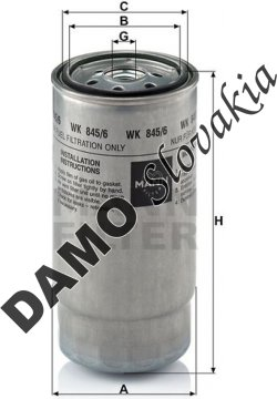 Palivový filter MANN FILTER WK 845/6