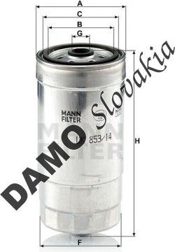 Palivový filter MANN FILTER WK 853/14