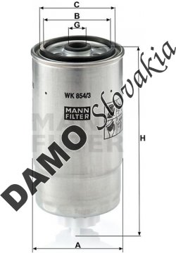 Palivový filter MANN FILTER WK 854/3