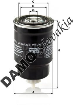 Palivový filter MANN FILTER WK 940/22