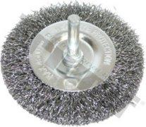 Kotúč drôtený plochý 100 mm, tŕň 6 mm, vlnitý drôt 0,3 mm