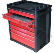 Montážny vozíky 7 zásuvkový, s novým uzamykacím systémom, červený