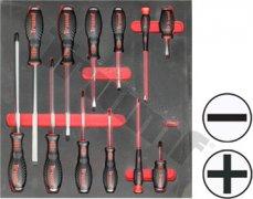 Modul  úderových skrutkovačov s 2 komponentnou rukoväťou, tvrdený driek S2, 12dielny