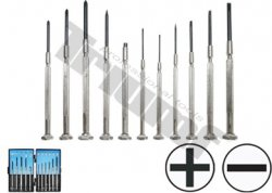 Mikro skrutkovače hodinárske ploché, krížové, PVC kufrík 11ks