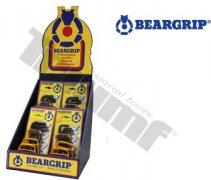 Reklamný kartónový stojan BEARGRIP s vnútrornými prepážkami na umiestnenie sád kľúčov,