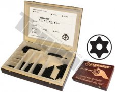 """Drevená prezentačná kazeta TORX vŕtaných """"L"""" kľúčov, 320 ks"""