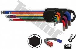 Extra dlhá sada inbus 1,5 - 10 mm s magnetom na dlhej strane a poplastované, vŕtané, 9-dieln