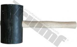 Kladivo gumené čierne, súdkovitý tvar, maxi, drevená rukoväť - Ø100x170 mm