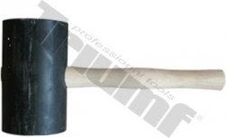 Kladivo gumené čierne, súdkovitý tvar, maxi, drevená rukoväť - Ø120x200mm