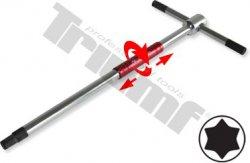 """Kľúč """"T"""" Torx T15 x 125mm dĺžka, rýchloskrutkovací driek, prestaviteľná rukoväť, Crv"""