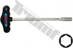 """Kľúč """"T"""" CRV matný driek, PVC tvarovaná rukoväť - 12 x 230 mm"""